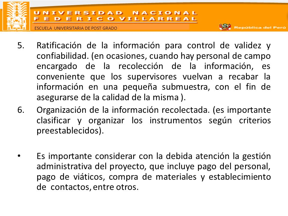 Ratificación de la información para control de validez y confiabilidad