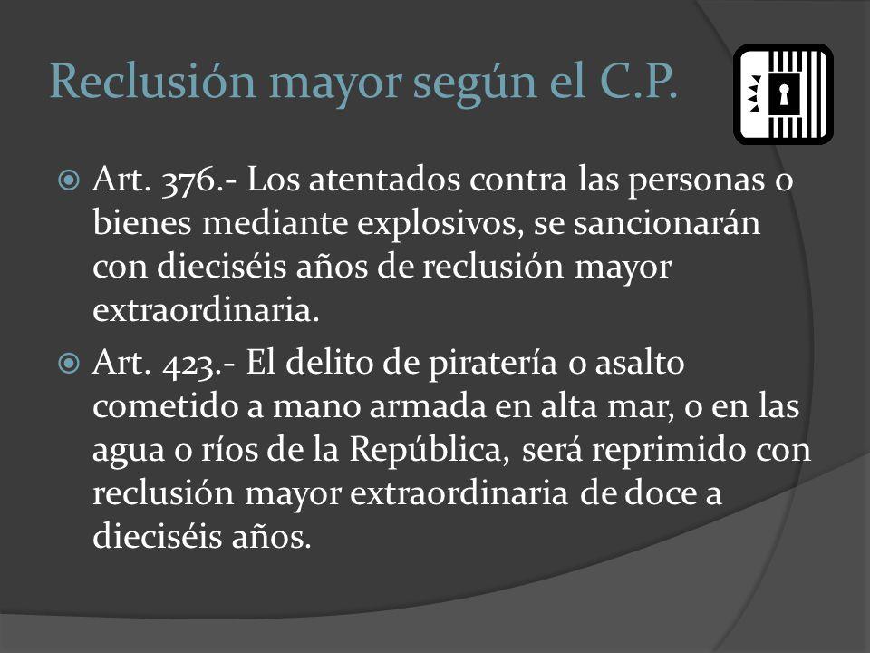 Reclusión mayor según el C.P.