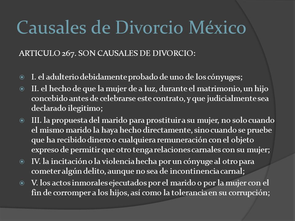 Causales de Divorcio México
