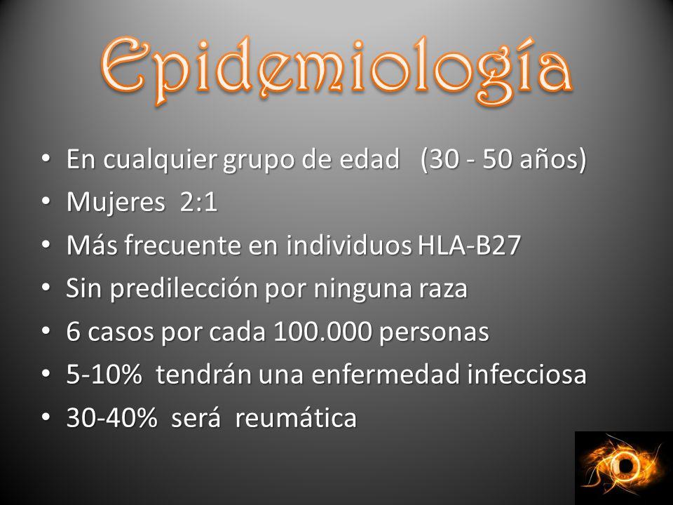 Epidemiología En cualquier grupo de edad (30 - 50 años) Mujeres 2:1