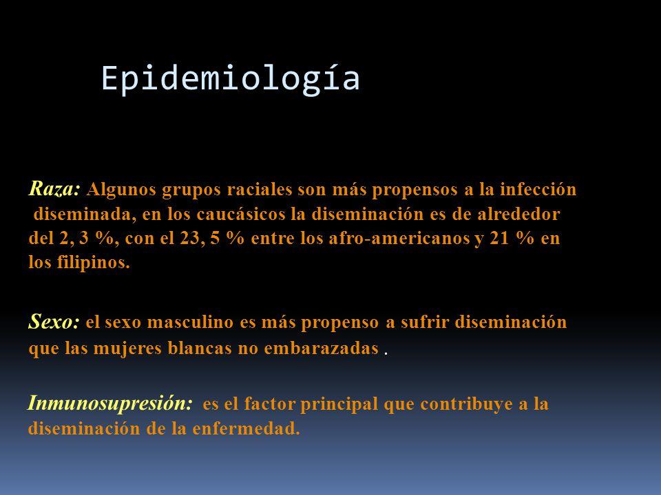 Epidemiología Raza: Algunos grupos raciales son más propensos a la infección. diseminada, en los caucásicos la diseminación es de alrededor.