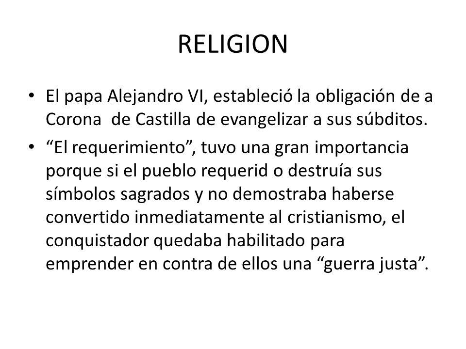 RELIGION El papa Alejandro VI, estableció la obligación de a Corona de Castilla de evangelizar a sus súbditos.