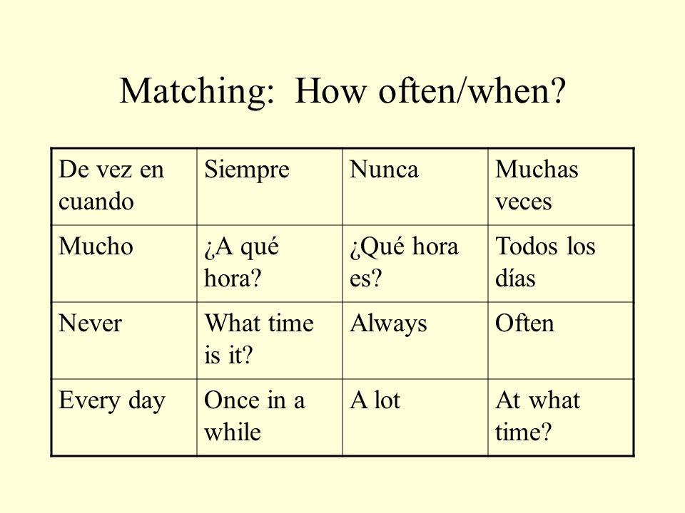Matching: How often/when