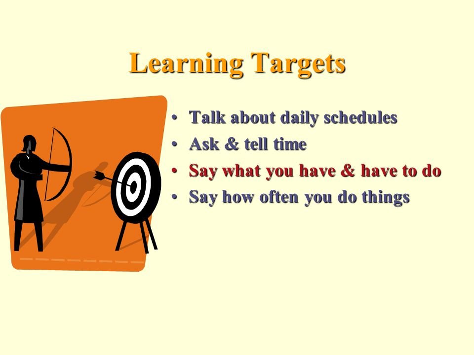 Learning Targets Talk about daily schedules Ask & tell time