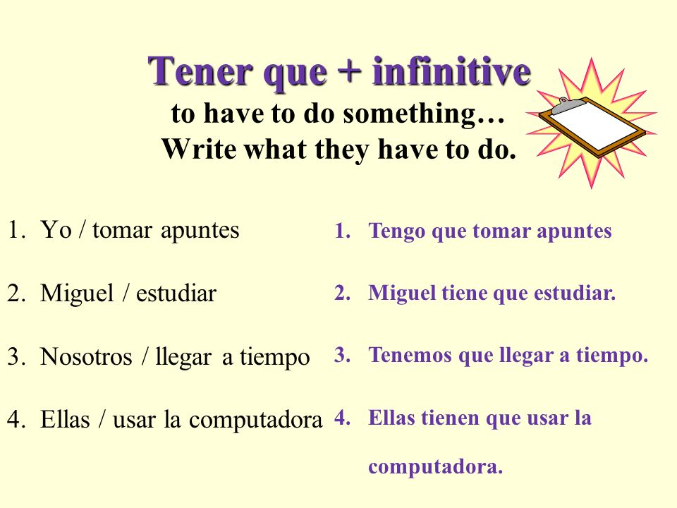 Tener que + infinitive to have to do something… Write what they have to do.
