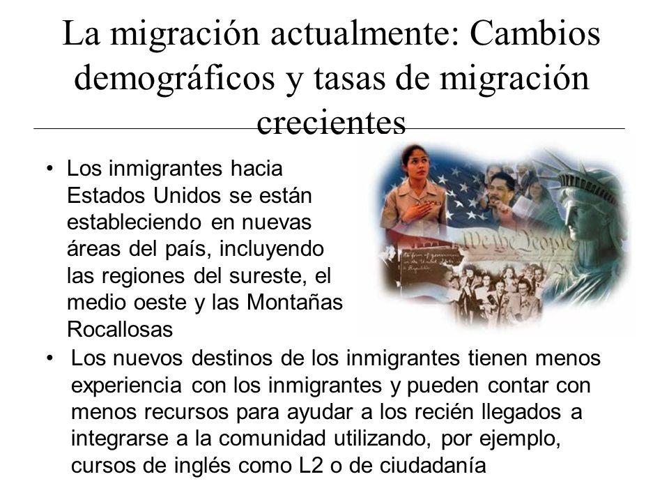 La migración actualmente: Cambios demográficos y tasas de migración crecientes