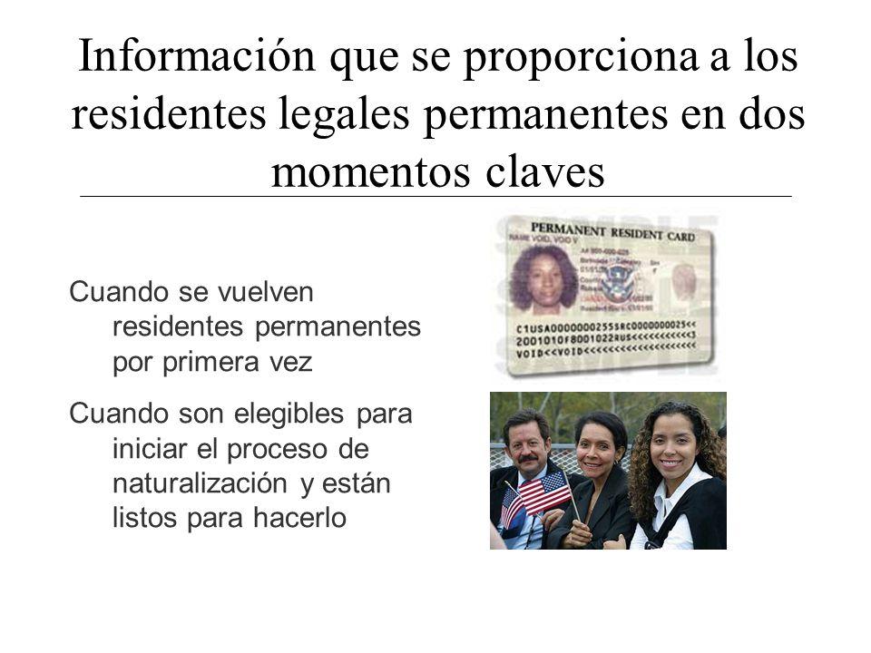 Información que se proporciona a los residentes legales permanentes en dos momentos claves