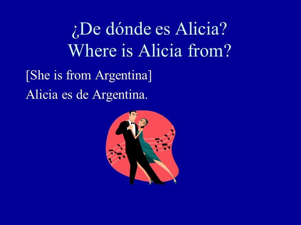 ¿De dónde es Alicia Where is Alicia from