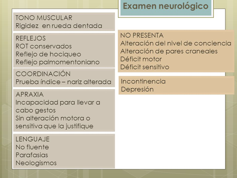 Examen neurológico TONO MUSCULAR Rigidez en rueda dentada NO PRESENTA