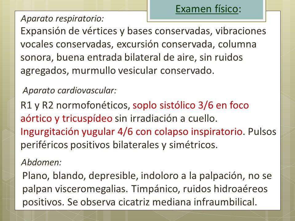 Examen físico: Aparato respiratorio: