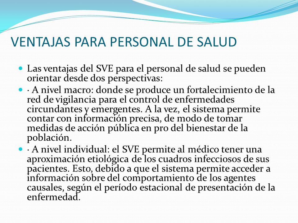 VENTAJAS PARA PERSONAL DE SALUD