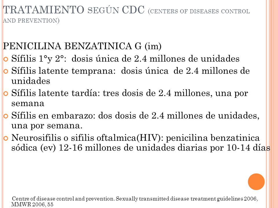 TRATAMIENTO según CDC (centers of diseases control and prevention)