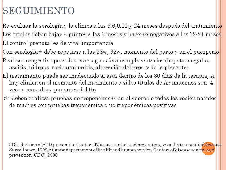 SEGUIMIENTO Re-evaluar la serología y la clínica a las 3,6,9,12 y 24 meses después del tratamiento.
