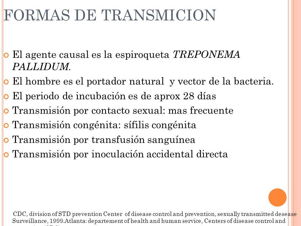 FORMAS DE TRANSMICION El agente causal es la espiroqueta TREPONEMA PALLIDUM. El hombre es el portador natural y vector de la bacteria.