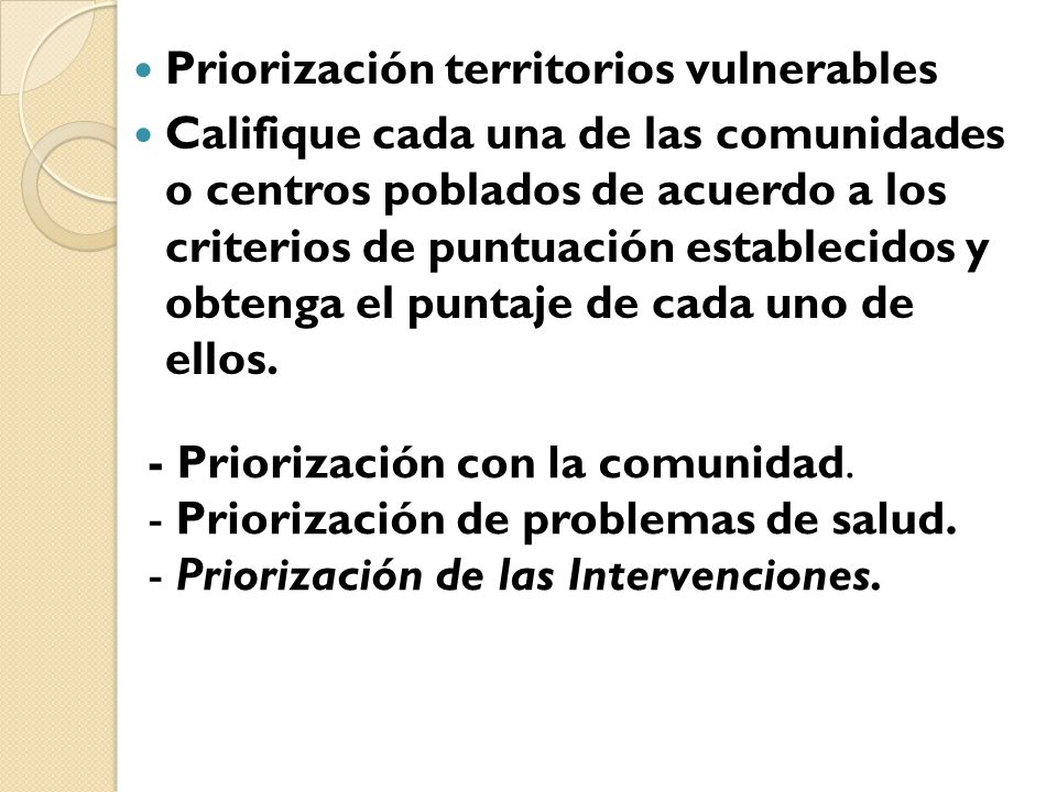 Priorización territorios vulnerables