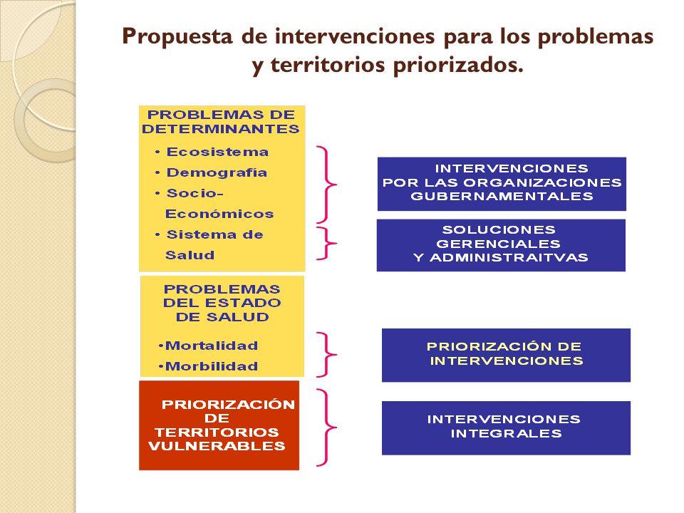 Propuesta de intervenciones para los problemas y territorios priorizados.