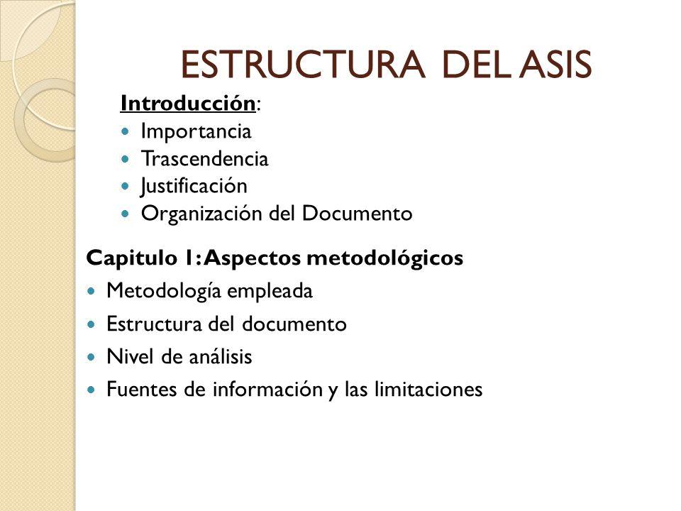 ESTRUCTURA DEL ASIS Introducción: Importancia Trascendencia