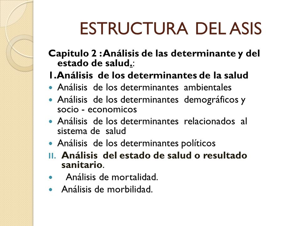 ESTRUCTURA DEL ASIS Capitulo 2 : Análisis de las determinante y del estado de salud.: 1.Análisis de los determinantes de la salud.