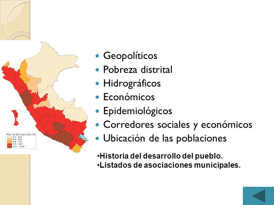 Corredores sociales y económicos Ubicación de las poblaciones