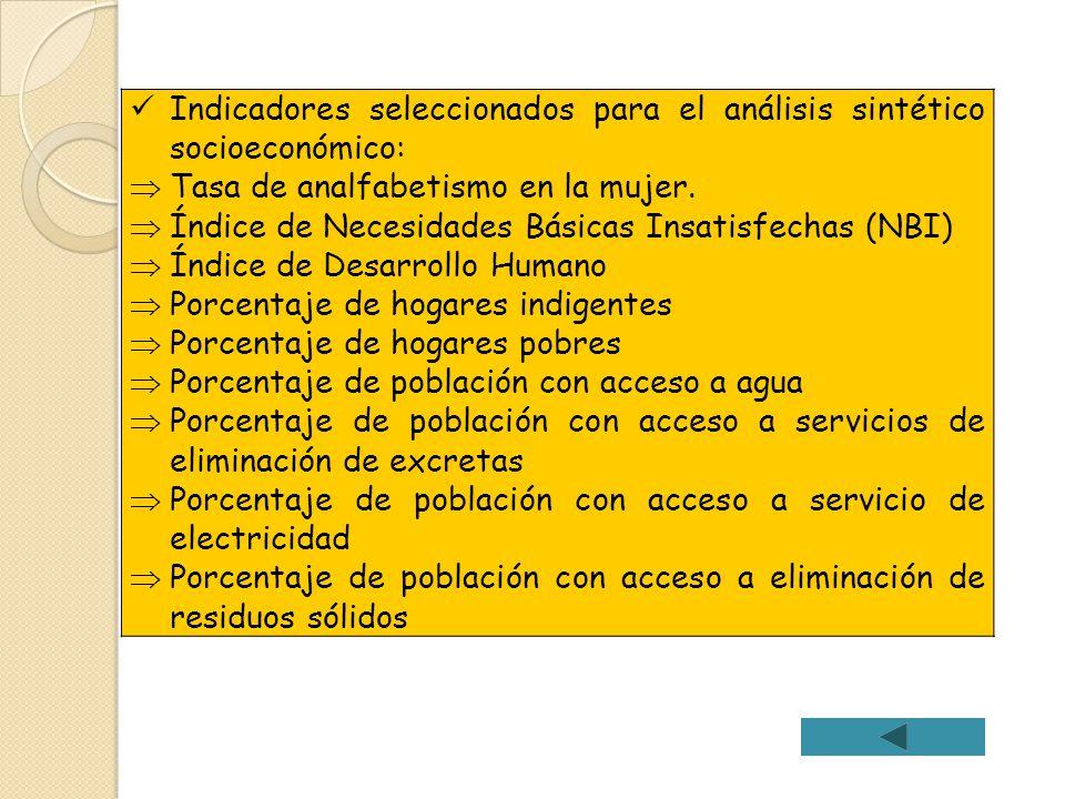 Indicadores seleccionados para el análisis sintético socioeconómico: