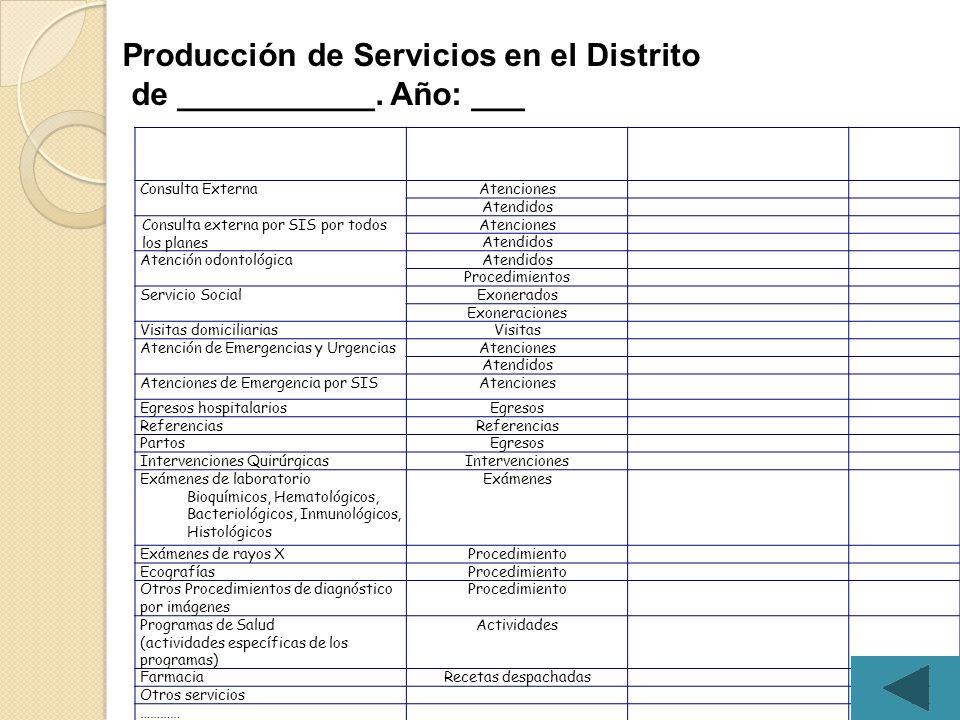 Producción de Servicios en el Distrito de ___________. Año: ___
