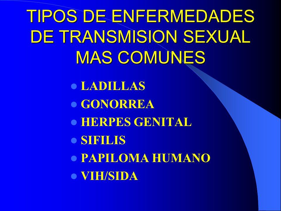 TIPOS DE ENFERMEDADES DE TRANSMISION SEXUAL MAS COMUNES