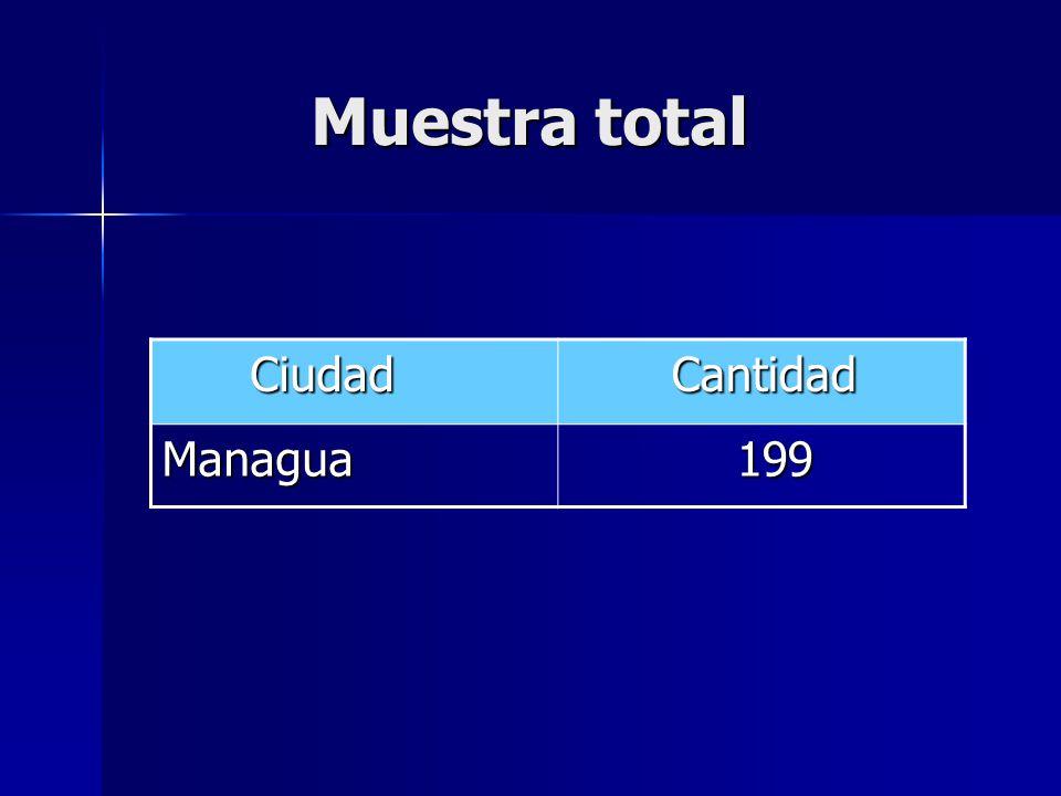 Muestra total Ciudad Cantidad Managua 199