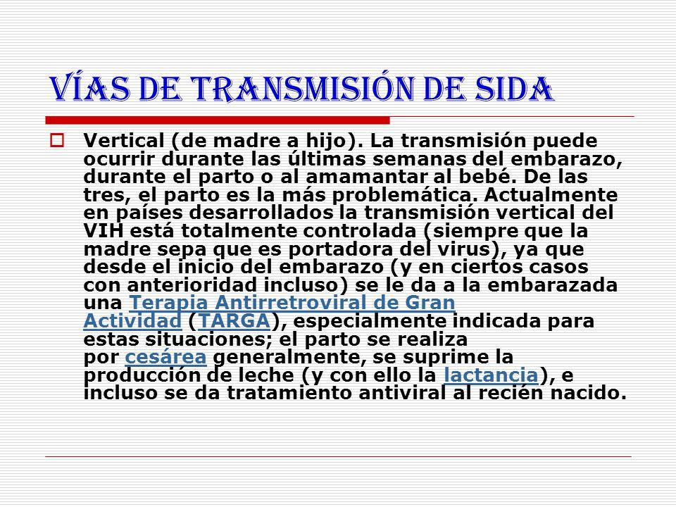 Vías de transmisión de SIDA