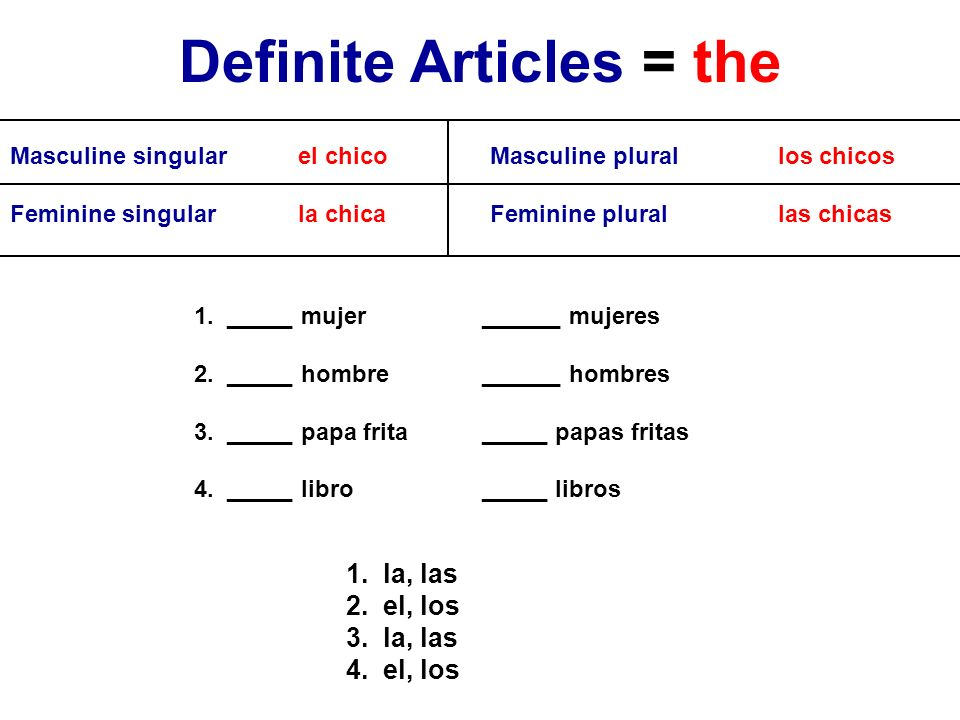 Definite Articles = the
