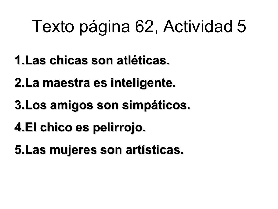 Texto página 62, Actividad 5