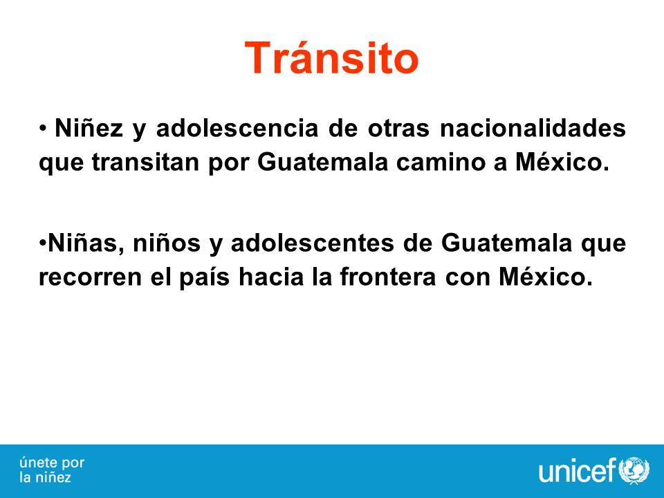 Tránsito Niñez y adolescencia de otras nacionalidades que transitan por Guatemala camino a México.