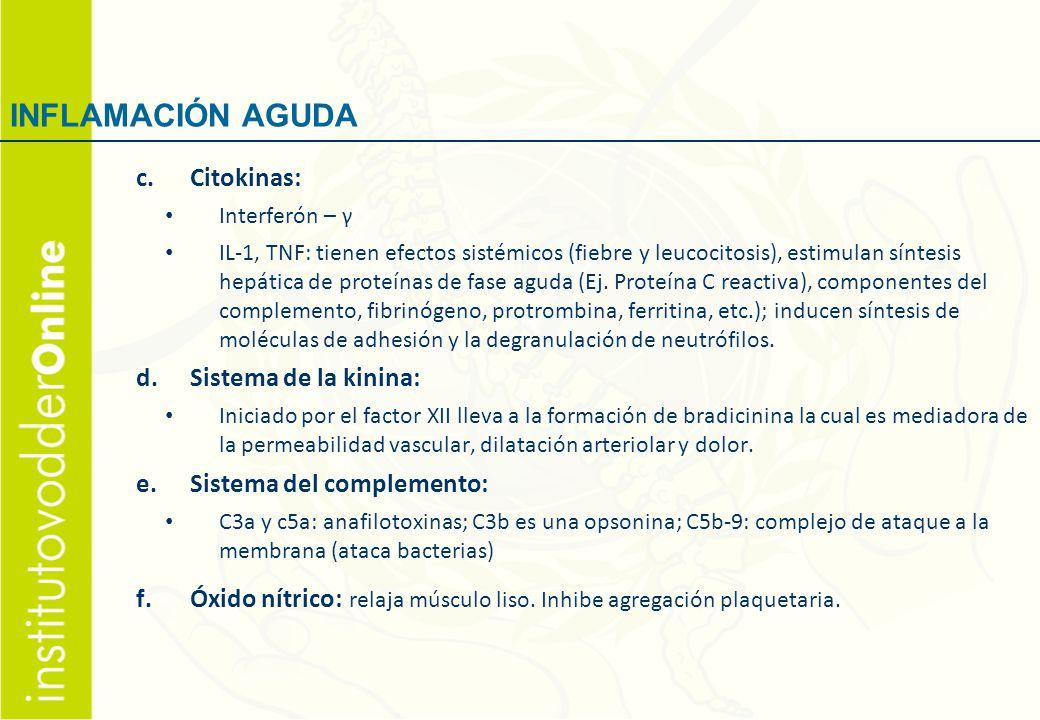 INFLAMACIÓN AGUDA Citokinas: Sistema de la kinina: