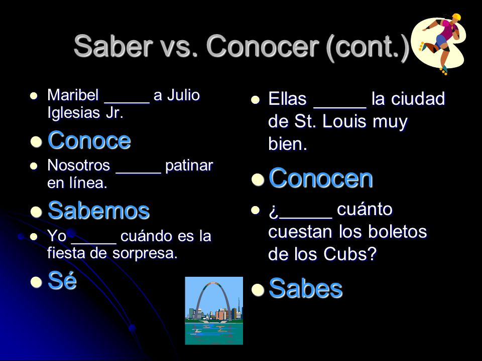 Saber vs. Conocer (cont.)