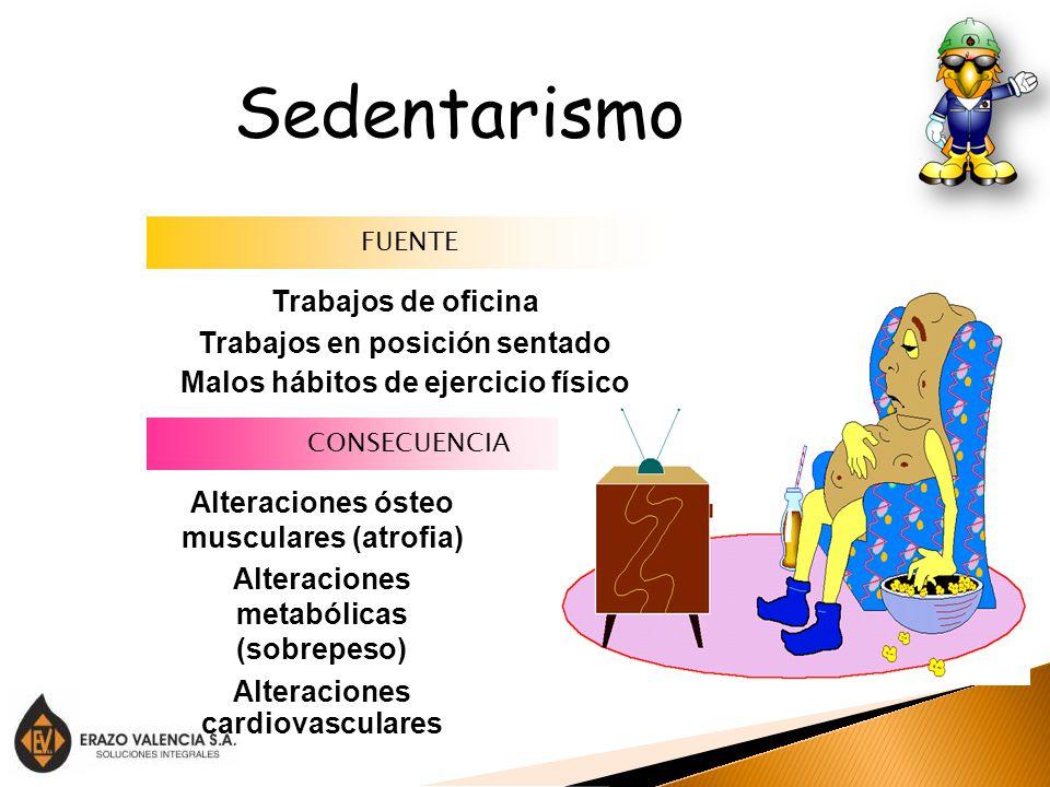 Sedentarismo Trabajos de oficina Trabajos en posición sentado