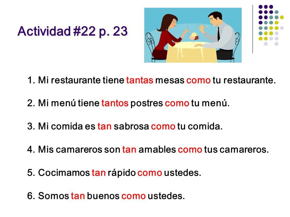 Actividad #22 p. 23 Mi restaurante tiene tantas mesas como tu restaurante. Mi menú tiene tantos postres como tu menú.
