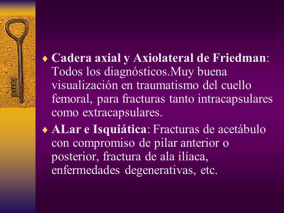 Cadera axial y Axiolateral de Friedman: Todos los diagnósticos