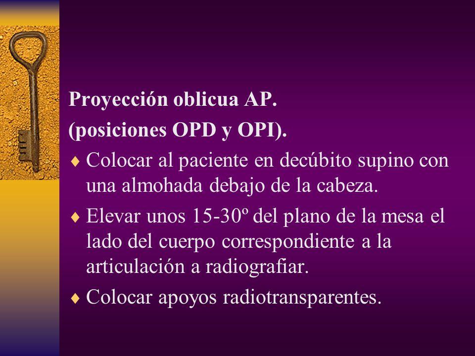 Proyección oblicua AP. (posiciones OPD y OPI). Colocar al paciente en decúbito supino con una almohada debajo de la cabeza.