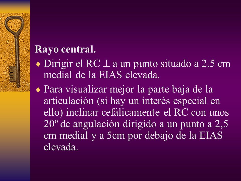 Rayo central. Dirigir el RC  a un punto situado a 2,5 cm medial de la EIAS elevada.