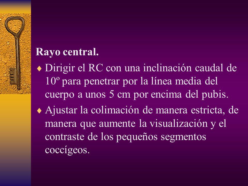 Rayo central. Dirigir el RC con una inclinación caudal de 10º para penetrar por la línea media del cuerpo a unos 5 cm por encima del pubis.