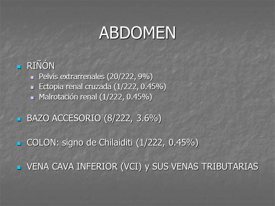 ABDOMEN RIÑÓN BAZO ACCESORIO (8/222, 3.6%)