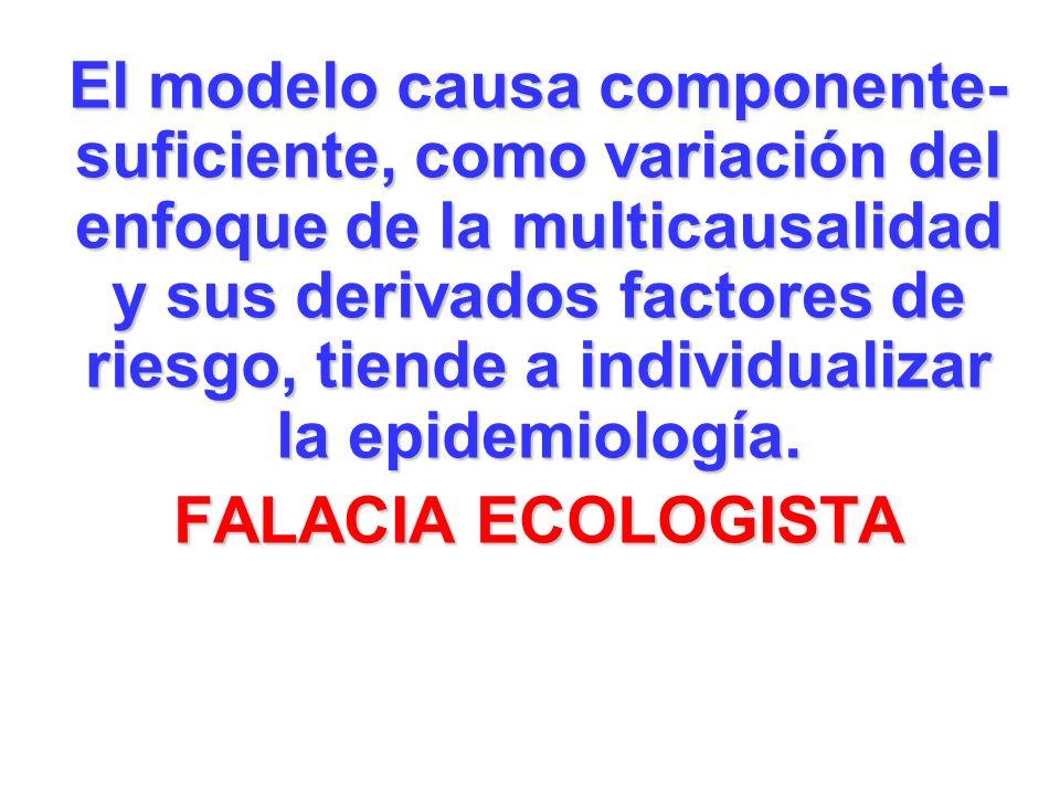El modelo causa componente-suficiente, como variación del enfoque de la multicausalidad y sus derivados factores de riesgo, tiende a individualizar la epidemiología.