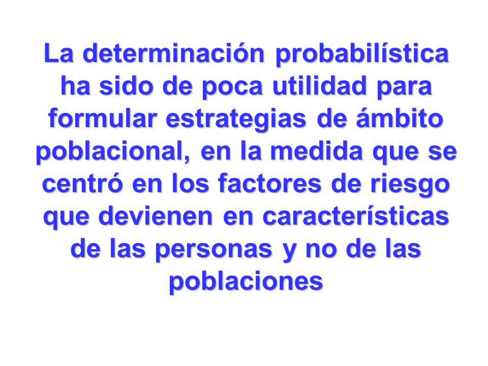 La determinación probabilística ha sido de poca utilidad para formular estrategias de ámbito poblacional, en la medida que se centró en los factores de riesgo que devienen en características de las personas y no de las poblaciones