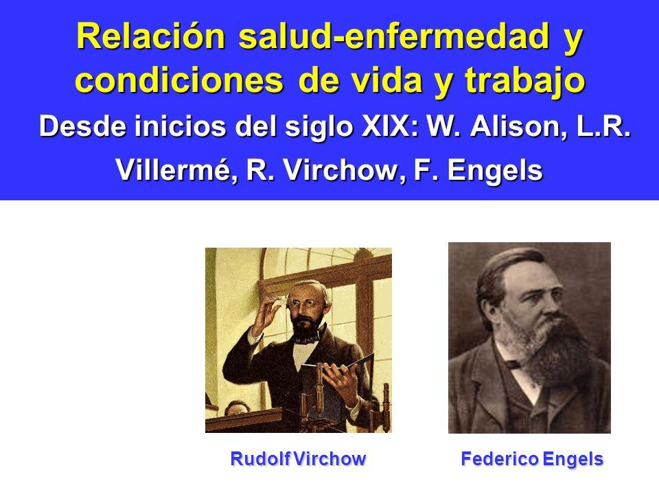 Relación salud-enfermedad y condiciones de vida y trabajo Desde inicios del siglo XIX: W. Alison, L.R. Villermé, R. Virchow, F. Engels