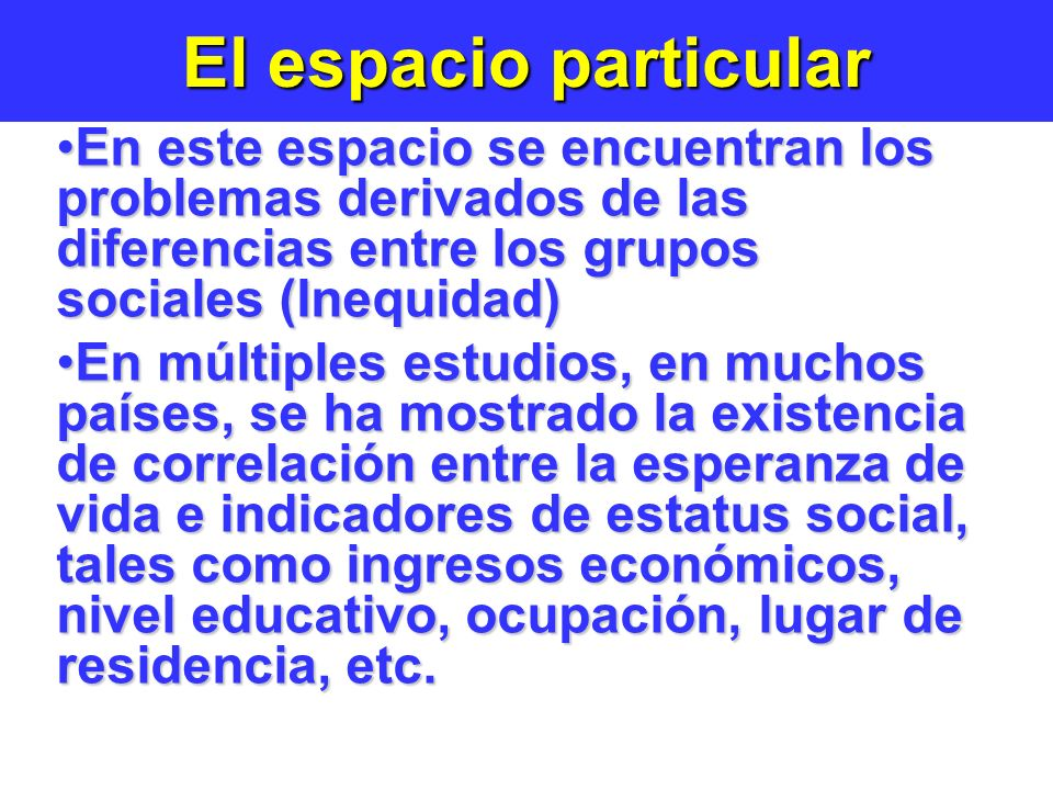 El espacio particular En este espacio se encuentran los problemas derivados de las diferencias entre los grupos sociales (Inequidad)
