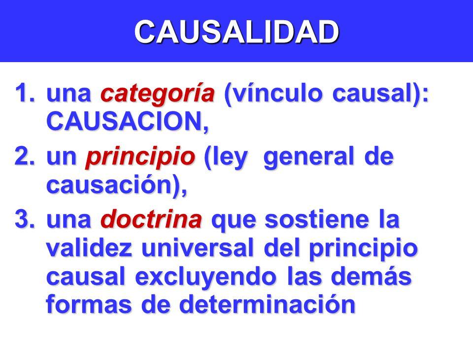 CAUSALIDAD una categoría (vínculo causal): CAUSACION,