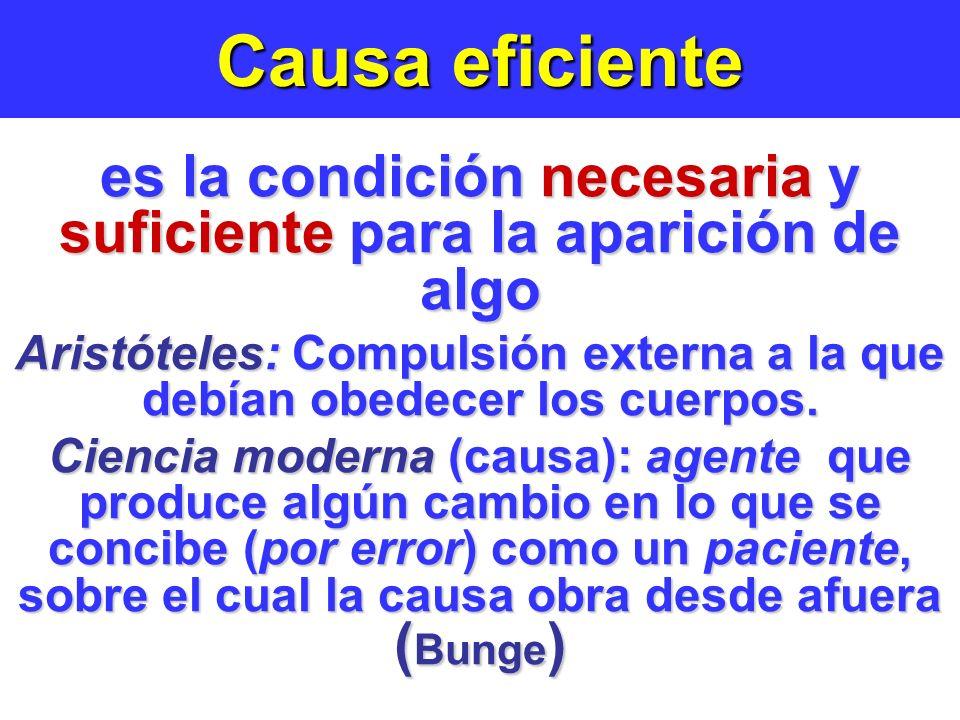 Causa eficiente es la condición necesaria y suficiente para la aparición de algo.