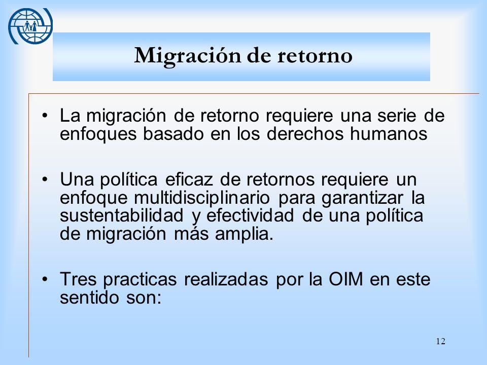 Migración de retornoLa migración de retorno requiere una serie de enfoques basado en los derechos humanos.