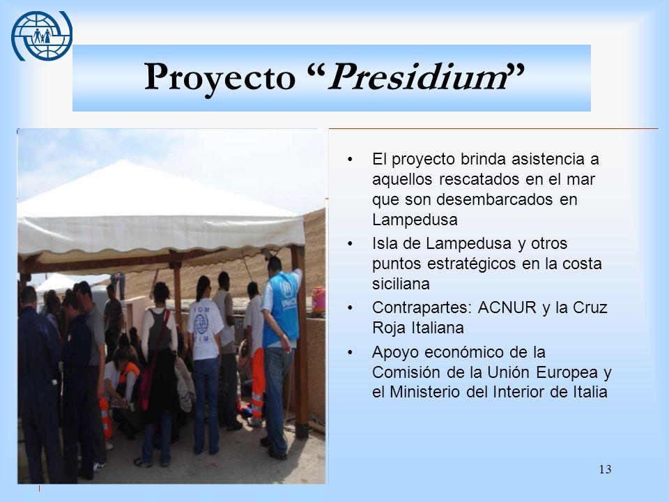 Proyecto Presidium El proyecto brinda asistencia a aquellos rescatados en el mar que son desembarcados en Lampedusa.