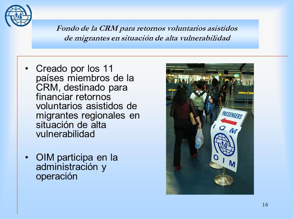 OIM participa en la administración y operación