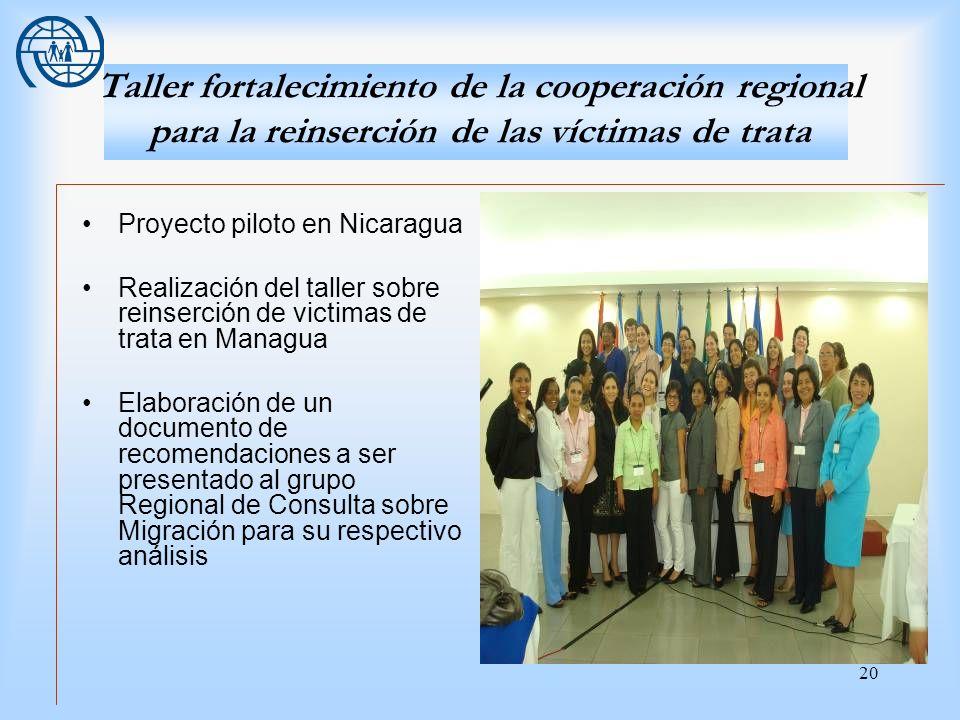 Taller fortalecimiento de la cooperación regional para la reinserción de las víctimas de trata